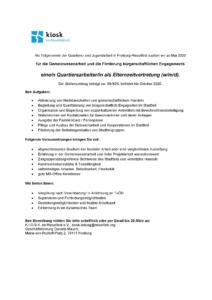 Jobanzeige Elternvertretung Quartiersarbeit 2020